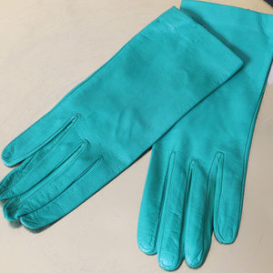 Vintage Gloves Green Leather Short Wrist 50s 60s